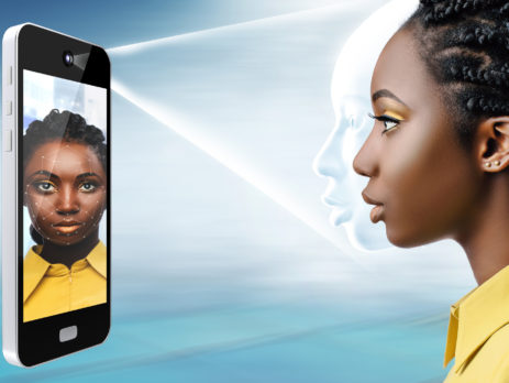 Side view of conceptual face recognition technology.